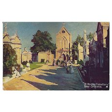 1907 New Orleans St. Roch Cemetery Postcard With Canadian Stamp