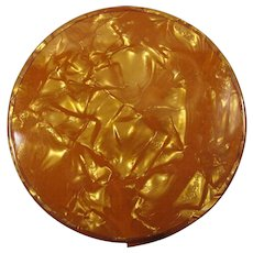 1960s Marbled Copper Lucite Pocket Mirror With Stand