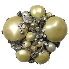 1950s DeMario New York Large Faux Pearl & Silver Leaves Brooch