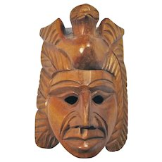 Vintage Carved Sandalwood Aztec Warrior Mask With Quetzalcoatl Headdress