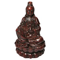 Vintage Kwan Yin Buddhist Goddess Red Resin Statue