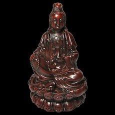 Vintage Kwan Yin Buddhist Goddess Red Resin Statue