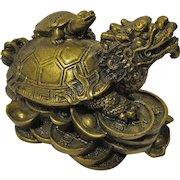 Vintage Feng Shui Dragon Turtle Statue For Prosperity