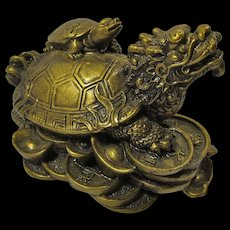 Vintage Feng Shui Dragon Turtle Statue For Prosperity