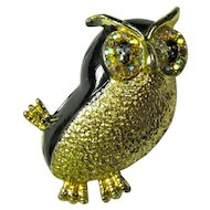 1950s Black & Gold Owl Brooch With Aurora Borealis Crystal Eyes