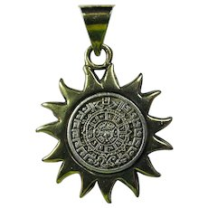 Vintage Sterling Silver Aztec Calendar Sun Pendant From Mexico