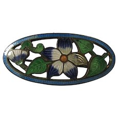 Antique Art Nouveau Brooch With Blue Cloisonné Flowers