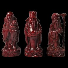 Vintage Cherry Resin Chinese Immortal Statues - Luck/Wealth/Long Life (Set of 3)