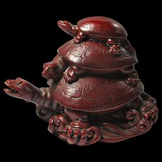 Vintage Cherry Resin Good Luck Tower of Turtles From China