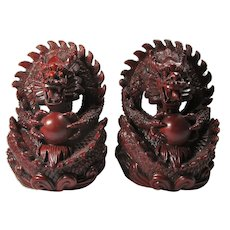 Vintage Red Resin Dragon With Magic Ball Bookends