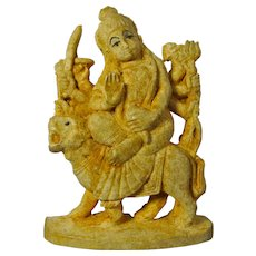 Small Vintage Hindu Goddess Durga Riding A Tiger Figurine