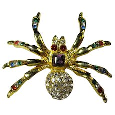 Vintage Rainbow Crystal Spider Brooch