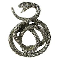 Vintage Silver Coiled Snake Brooch