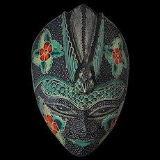 Vintage Balinese Dewi Sri Goddess Mask With Bird