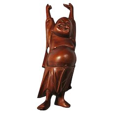 Vintage Rosewood Happy Buddha Statue