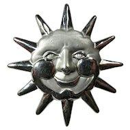 Vintage AJC Smiling Silver Sun Brooch