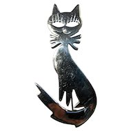 Vintage Sterling Silver Cutout Smiling Cat Brooch