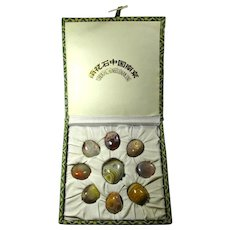 Vintage Chinese Healing Stones - Yuhua Rain Flower Agates In Custom-Made Box