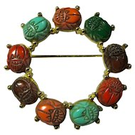 Vintage Thermoset Egyptian Scarabs Circle Brooch