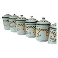 Set of 6 Vintage French Kitchen Storage Jars Enamel canisters 1920s tins
