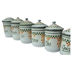 Set of 6 Vintage French Kitchen Storage Jars Enamel canisters 1920s tins