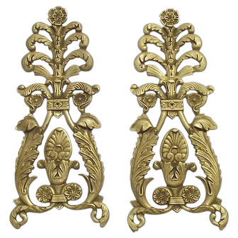 Antique French Bronze Decorative Brass plaque furniture Classical Acanthus Plume feathers