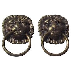 Pair of Small Brass Antique French Lion head Drawer pulls