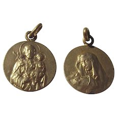 Rare Pair of Vintage French Religious gilded Medals Mary Madonna Lilies Joseph Jesus