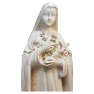 Vintage French Religious Statue Plaster Cast Chalk ware Shrine Figurine St Therese, Saint Teresa