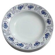 Set of 6 Vintage French Dishes Dessert Bowls 1920s Indigo Blue Poppy Head Pattern
