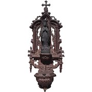 Rare Antique Gilt Bronze Holy Water Font Wall hanging Benitier Madonna Dove Corn Grape detail 1890