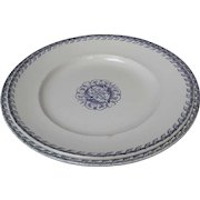 Pair of Antique French Terre De Fer Ironstone Serving Plates Blue white transfer ware 1880s