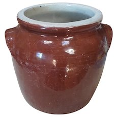 Antique French 1910 Stoneware Confit Pot, Conserve Crock, Preserving Jar, Kitchen Utensil Holder