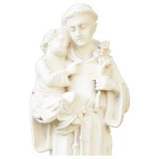 Antique French Statue Saint Anthony of Padua Baby Jesus Chalkware figurine