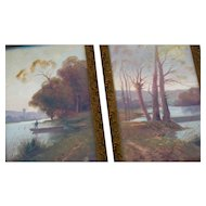 Pair Antique French Oil Paintings 1890 Signed Autumn Scenes River Boat Landscape