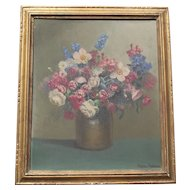 Antique Art Deco Oil on Board  French painting Floral Still Life