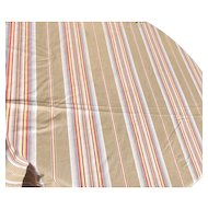 Panel of Vintage French 1930s Striped Ticking Fabric Herringbone Ochre firebird