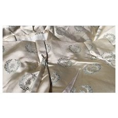 Antique French Empire Drapes Napoleon III Satin Bee Motif Curtains