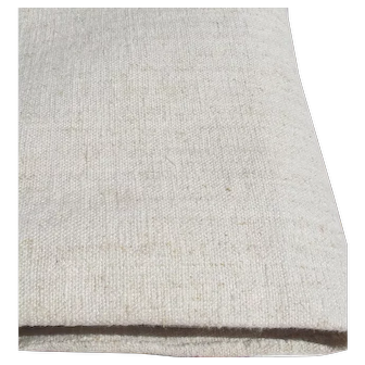 Antique French Fabric Oatmeal Hemp Linen 19th Century Textile