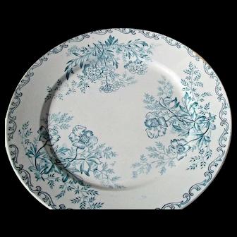 Set Antique French Plates Sweet Briar Eglantine Rose 19th Century Dining
