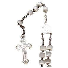 Antique French Pearl and Silvered Tin Rosary Beads First Communion