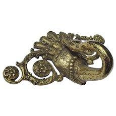 Antique French Bronze Furniture Decoration Swan Plaque