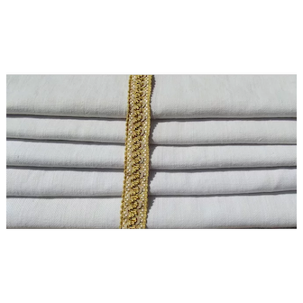Set of Antique French Linen Cloths Handwoven 19th century chanvre twill Fabric
