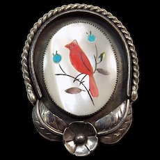Sterling Silver Native American Zuni WM Inlay Gemstone Bird Pendant Mother of Pearl Red Coral.