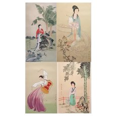 Group of 4 original Chinese watercolor paintings framed