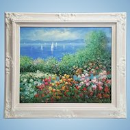 An original oil painting in white frame Mediterranean landscape. FREE US SHIPPING