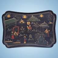A vintage Chinese oil painting on a lacquered wooden tray. FREE US SHIPPING