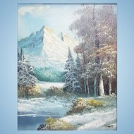 A vintage small oil painting Yosemite National Park landscape signed. FREE US SHIPPING