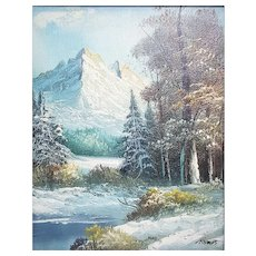 A vintage small oil painting Yosemite National Park landscape signed