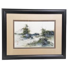 Original Chinese watercolor painting on rice paper signed by artist